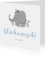 Glückwunschkarte zur Geburt mit süßem Elefant