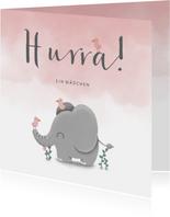 Glückwunschkarte zur Geburt rosa mit Elefant und Vögeln