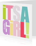 Glückwunschkarte zur Geburt Text grafisch It's a girl