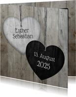 Glückwunschkarte zur Hochzeit Herzen in Holzlook