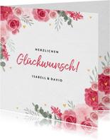 Glückwunschkarte zur Hochzeit rosa Rosen