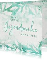 Glückwunschkarte zur Jugendweihe Florales Aquarell