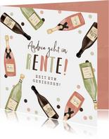 Glückwunschkarte zur Rente Champagner & Wein