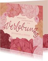 Glückwunschkarte zur Verlobung Blüten und Lettering