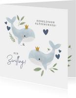Glückwunschkarte Zwilling Wale blau
