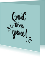God bless you - black and colour - zomaar kaart