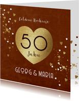 Goldene Hochzeit Glückwunschkarte Goldherz