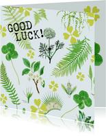Good Luck kaart botanisch met klavertjes vier