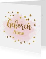 Geboortekaartjes - gouden aquarel geboortekaartje