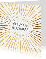 Gouden vuurwerk nieuwjaarskaart
