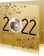 Goudlook kerstkaart 2022 met foto sterren en spetters