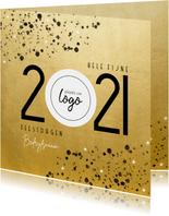 Goudlook zakelijke kerstkaart 2021 met logo en spetters