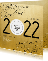 Goudlook zakelijke kerstkaart 2022 met logo en spetters