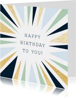 Grafische verjaardagskaart en vrolijke kleurencombi