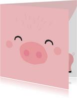 Grappig felicitatiekaartje met het gezicht van een varken