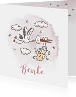 Grappig geboortekaartje met vliegende ooievaar en meisje