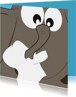 Grappige beterschapskaart met een verkouden olifant