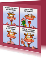 Grappige beterschapskaart met leuke dieren als stripverhaal