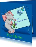 Grappige beterschapskaart olifant met brief