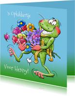 grappige beterschapskaart opkikker met bos bloemen
