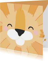 Grappige felicitatiekaart met het gezicht van een leeuw