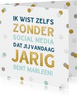 Grappige felicitatiekaart Social Media verjaardag confetti