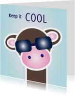 Grappige kaart met hippe aap