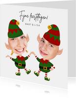 Grappige kerstkaart - Maak een Elf van jezelf - 2 personen