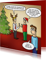 Grappige kerstkaart met kerstballen