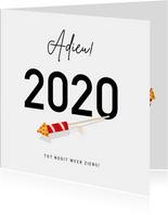 Grappige nieuwjaarskaart Corona - Adieu 2020 met vuurpijl