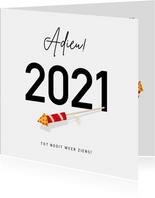 Grappige nieuwjaarskaart Corona - Adieu 2021 met vuurpijl