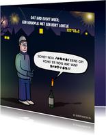 Nieuwjaarskaarten - Grappige nieuwjaarskaart met cartoon 'kort lontje'