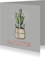 Grappige nieuwjaarskaart van vrolijke cactus met sterretjes