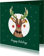 Grappige Rudolf het Rendier wenst je een fijne feestdagen