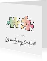 Grappige vaderdagkaart met 2 puzzelstukjes - maakt compleet