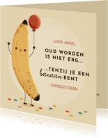 Grappige verjaardagskaart banaan, ballon en typografie