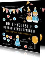 Grappige verjaardagskaart collega - DIY bureau versierpakket