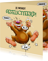Grappige verjaardagskaart met juichende beer
