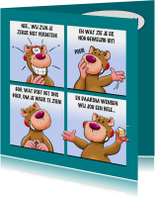 Grappige verjaardagskaart met leuke beer als stripverhaal