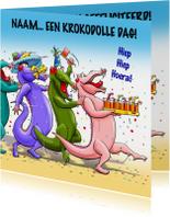 Grappige verjaardagskaart met tekst: Krokodolle dag