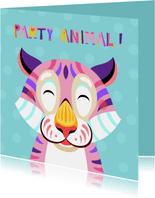 Grappige verjaardagskaart met tijger