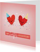 Grappige verjaardagskaart van hartjes gefeliciteerd
