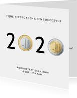 Grappige zakelijke nieuwjaarskaart jaartal 2020 met euro's
