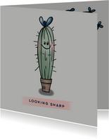 Grappige zomaar-kaart met cactus om een compliment te geven