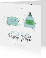 Grappige zomaarkaart perfecte match mondkapje en handzeep
