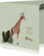 Groen geboortekaartje met een giraffe