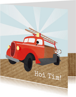 Groetjes met brandweerauto