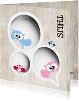 Geboortekaartjes - Grote broer geboortekaart uil gezin van Mo Cards