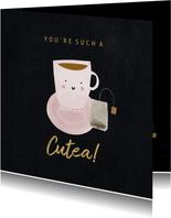 Grußkarte 'cutea' mit Teetasse und Foto innen