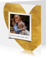 Grußkarte Foto & Herz Goldlook
